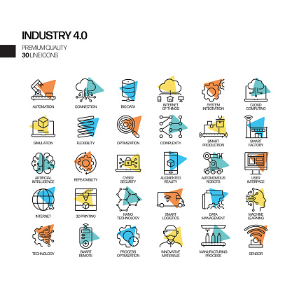 Simple Set of Industry 4.0 Related Spotlight Vector Line Icons. Outline Symbol Collection.