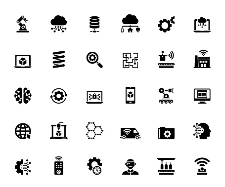 Simple Set of Industry 4.0 Related Vector Icons. Symbol Collection.