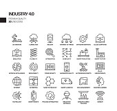 Simple Set of Industry 4.0 Related Vector Line Icons. Outline Symbol Collection.