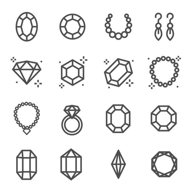 Simple Set of Jewelry Related Vector Line Icons. Contains such Icons as Earrings, Diamond, Engagement Ring and more. Simple Set of Jewellry Related Vector Line Icons. Contains such Icons as Earrings, Diamond, Engagement Ring and more. septum stock illustrations