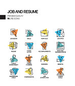 Simple Set of Job and Resume Related Spotlight Vector Line Icons. Outline Symbol Collection