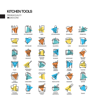 Simple Set of Kitchen Tools Related Spotlight Vector Line Icons. Outline Symbol Collection.