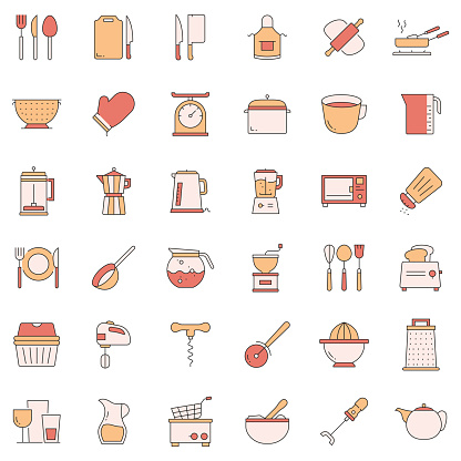 Simple Set of Kitchen Tools Related Vector Line Icons. Outline Symbol Collection.