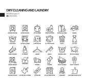 Simple Set of Laundry and Dry Cleaning Related Vector Line Icons. Outline Symbol Collection