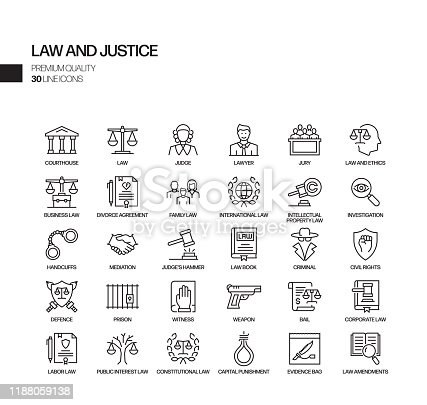 Simple Set of Law and Justice Related Vector Line Icons. Outline Symbol Collection.