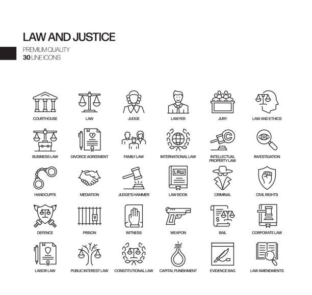 Simple Set of Law and Justice Related Vector Line Icons. Outline Symbol Collection. Simple Set of Law and Justice Related Vector Line Icons. Outline Symbol Collection. courthouse stock illustrations