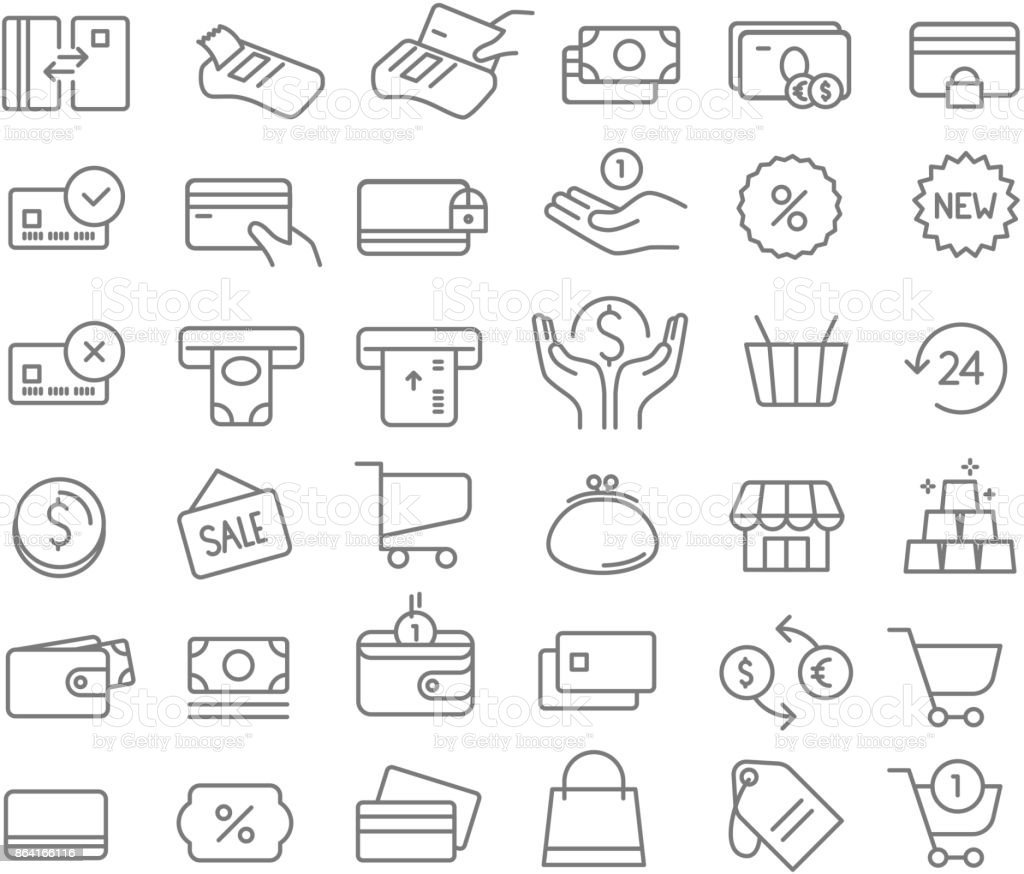 Simple set of line icons. Vector icons clipart isolated on white. Money, wallets, cards, coins etc royalty-free simple set of line icons vector icons clipart isolated on white money wallets cards coins etc stock vector art & more images of bank