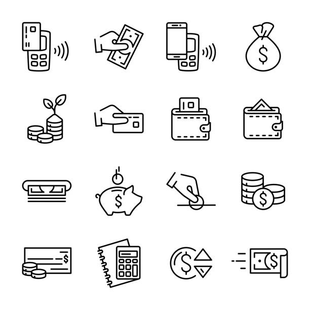 simple set of linear money and finance vector icons. contains such outline vector icons as money, wallet, contactless payment, hand with a coin and others - płacić stock illustrations
