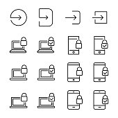 Simple set of login related outline icons.