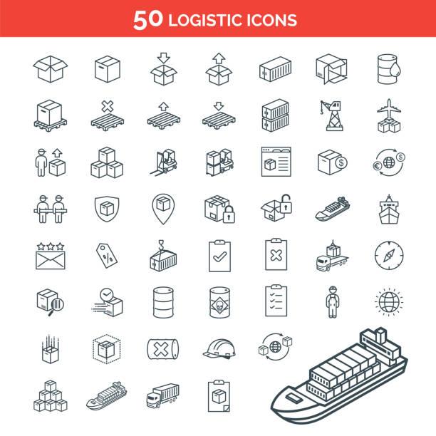 stockillustraties, clipart, cartoons en iconen met eenvoudige set van logistiek pakket levering gerelateerde vector lijn pictogrammen - pallet