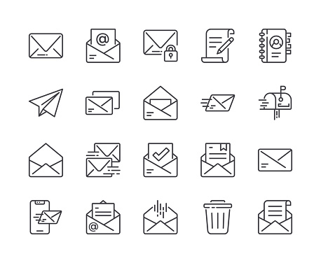 Simple Set of Mail Line Icon. Editable Stroke