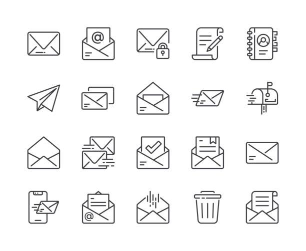 простой набор значка почтовой линии. редактируемый ход - сообщение stock illustrations