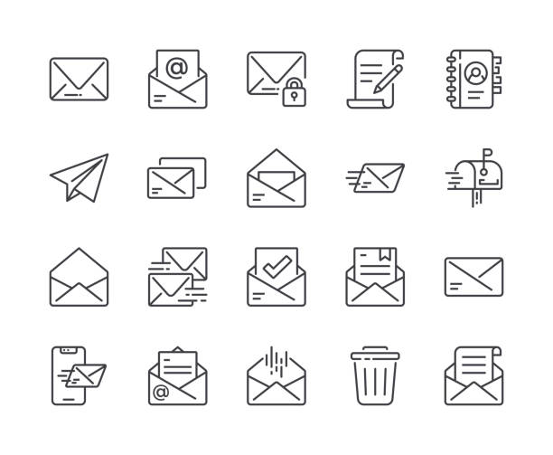 simple set of mail line icon. editable stroke - email icon stock illustrations, clip art, cartoons, & icons
