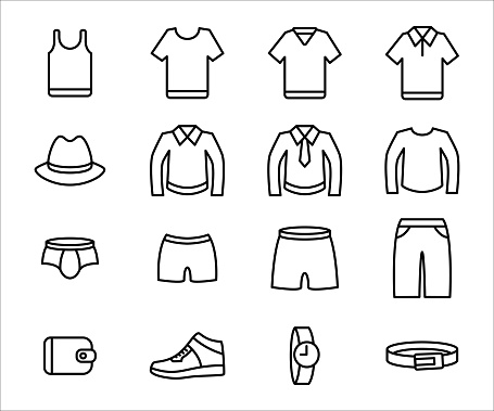 Simple Set of male men's outfit wear Related Vector icon graphic design template. Contains such Icons as clothe, shirt, pant, short, underwear, button shirt, wallet, shoe, watch, and belt