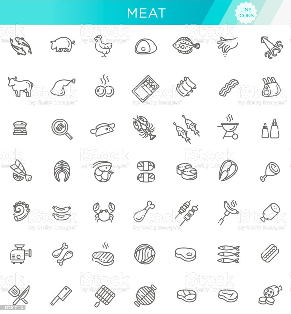 Simple Set of Meat Related Vector Line Icons vector art illustration