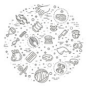 Simple Set of Meat Related Vector Line Icons.