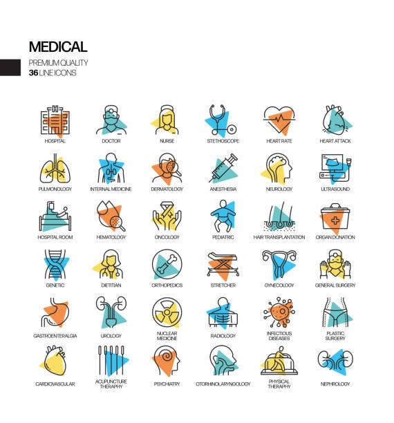 ilustraciones, imágenes clip art, dibujos animados e iconos de stock de conjunto simple de iconos de línea vectorial de spotlight relacionados con la salud y médica. colección de símbolos de esquema. - oncología