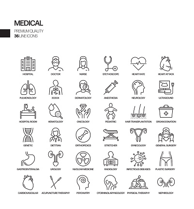 Simple Set of Medical and Health Related Vector Line Icons. Outline Symbol Collection.