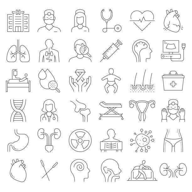 簡單的一組醫療和與健康相關的向量行圖示。大綱符號集合。可編輯描邊。 - surgeon 幅插畫檔、美工圖案、卡通及圖標