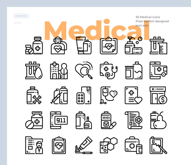 Simple Set of Medical and Healthcare .Vector Icons. Editable Stroke. 48x48 Pixel Perfect Vector Icons. Editable Stroke. 48x48 Pixel Perfect laboratory glassware stock illustrations