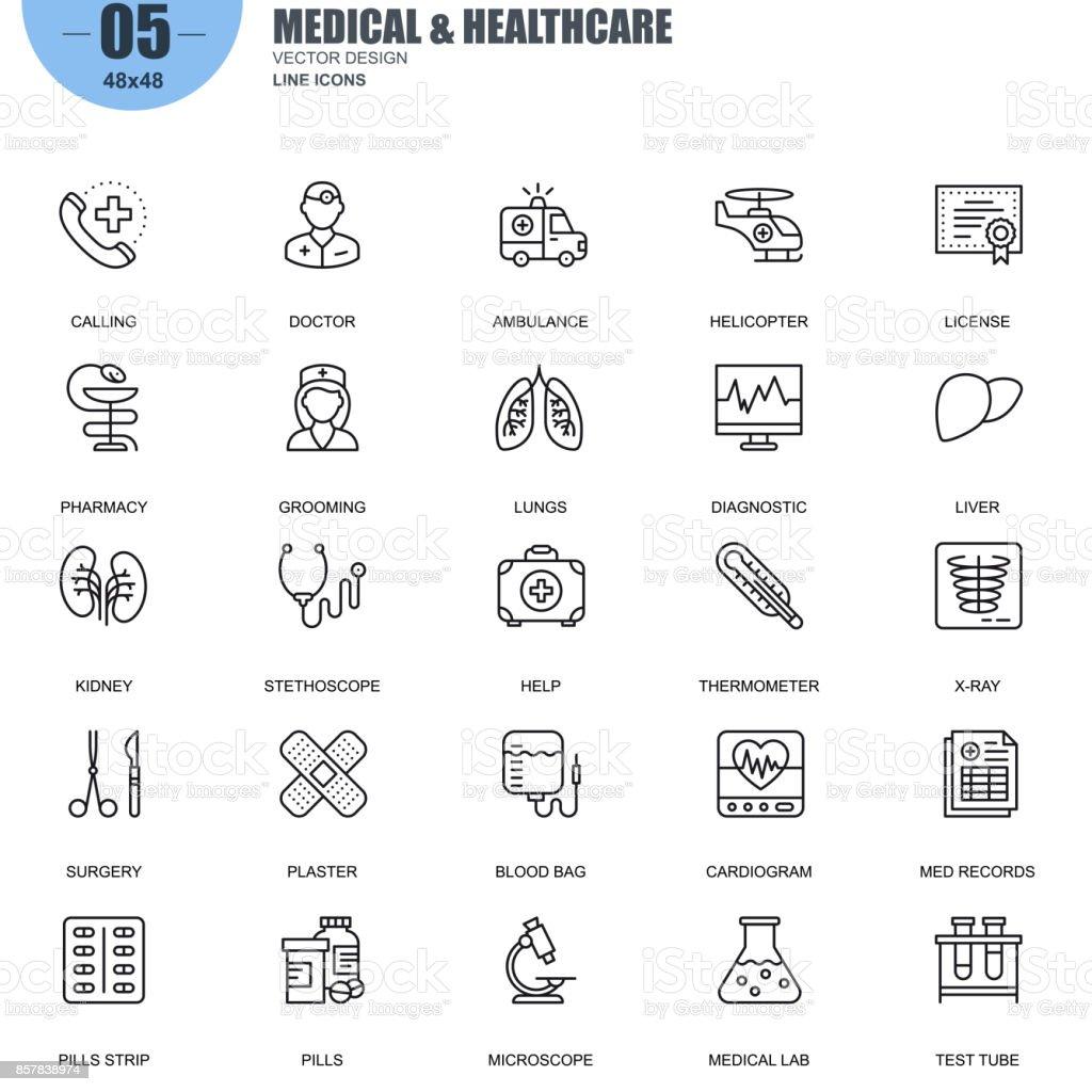 Simples conjunto de ícones de linha do vetor de medicina e saúde - ilustração de arte em vetor