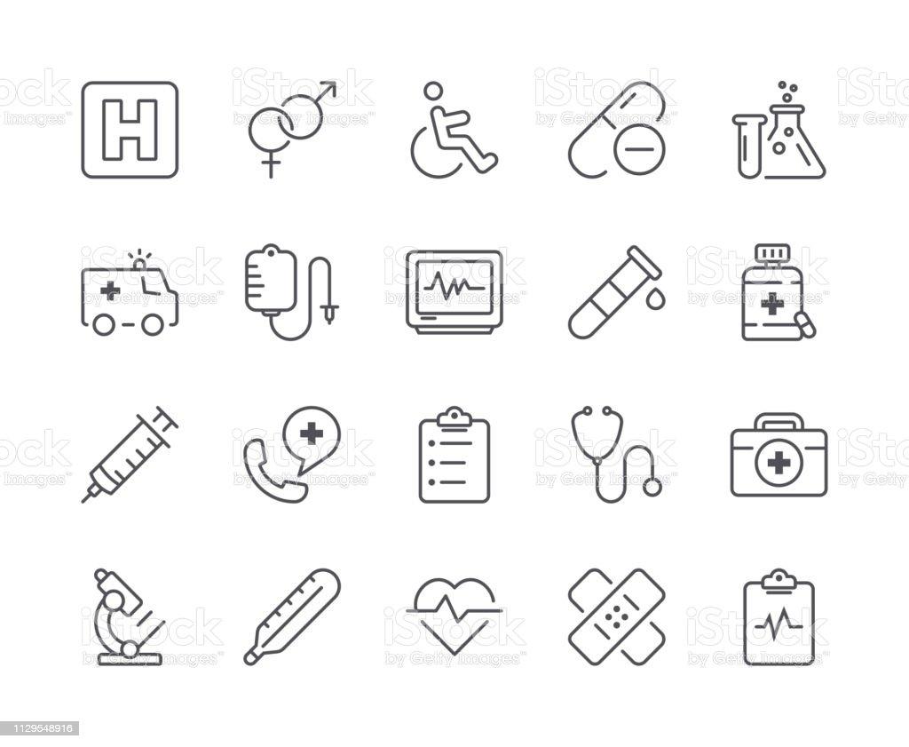 Simple Set of Medical Line Icon. Editable Stroke - Grafika wektorowa royalty-free (Ambulans)