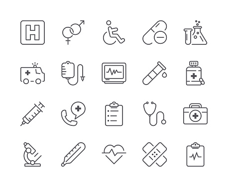Simple Set of Medical Line Icon. Editable Stroke clipart