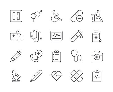 Simple Set Of Medical Line Icon Editable Stroke - Stockowe grafiki wektorowe i więcej obrazów Ambulans