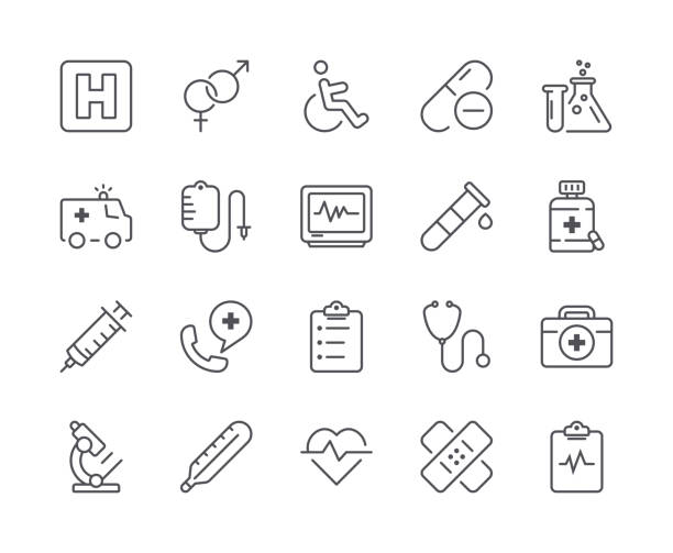 simple set of medical line icon. editable stroke - health stock illustrations