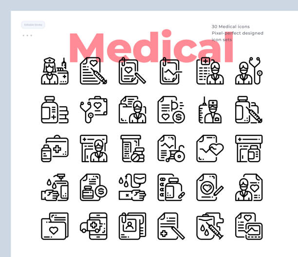 Simple Set of Medical.Vector Icons. Editable Stroke. 48x48 Pixel Perfect Vector Icons. Editable Stroke. 48x48 Pixel Perfect laboratory glassware stock illustrations