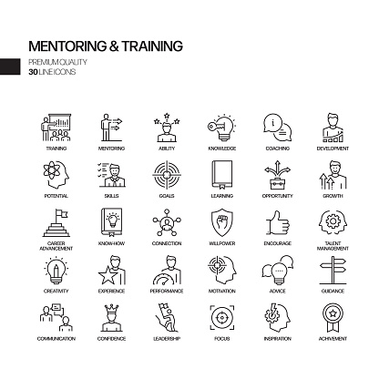 Simple Set of Mentoring and Training Related Vector Line Icons. Outline Symbol Collection