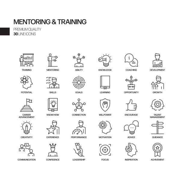 prosty zestaw mentoringu i szkolenia związane vector line ikony. kolekcja symboli konspektu - umiejętność stock illustrations