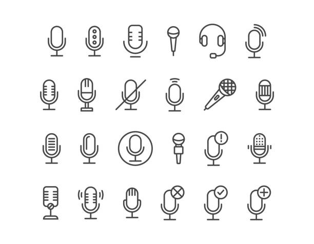 simple set of microphone and related of microphone mic vector line icons. editable stroke. 48x48 pixel perfect. - podcast stock illustrations