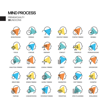 Simple Set of Mind Process Related Spotlight Vector Line Icons. Outline Symbol Collection.