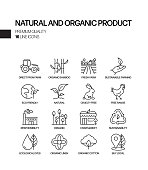 Simple Set of Natural and Organic Product Related Vector Line Icons. Outline Symbol Collection