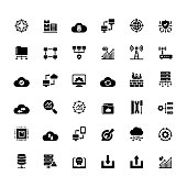 Simple Set of Network Technology Related Vector Icons. Symbol Collection.