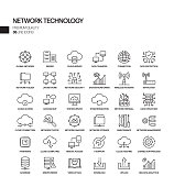 Simple Set of Network Technology Related Vector Line Icons. Outline Symbol Collection.