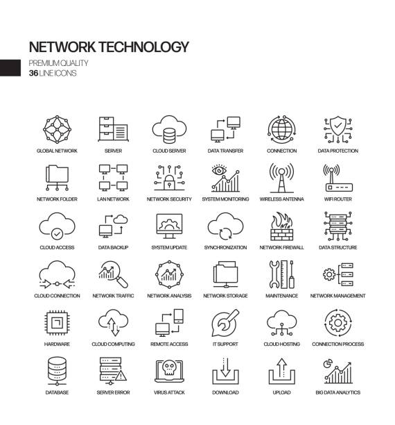 simple set of network technology related vector line icons. outline symbol collection. - computer server room stock illustrations