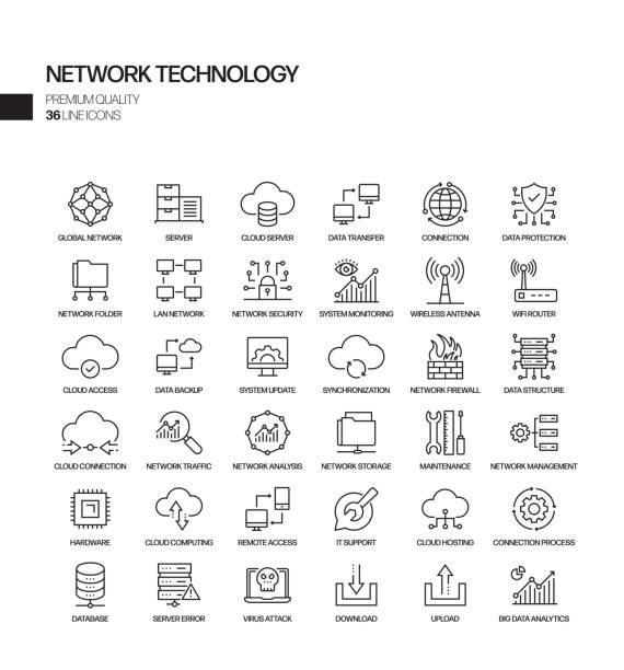 네트워크 기술 관련 벡터 선 아이콘의 간단한 집합입니다. 윤곽선 기호 컬렉션입니다. - 수다 stock illustrations