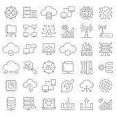 Simple Set of Network Technology Related Vector Line Icons. Outline Symbol Collection. Editable Stroke