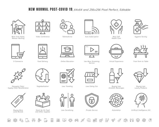 illustrazioni stock, clip art, cartoni animati e icone di tendenza di simple set of new normal after coronavirus 2019 or covid-19 ends related. such as streaming, online shopping, supply recalibration. line outline icons vector. 64x64 pixel perfect. editable stroke. - new normal