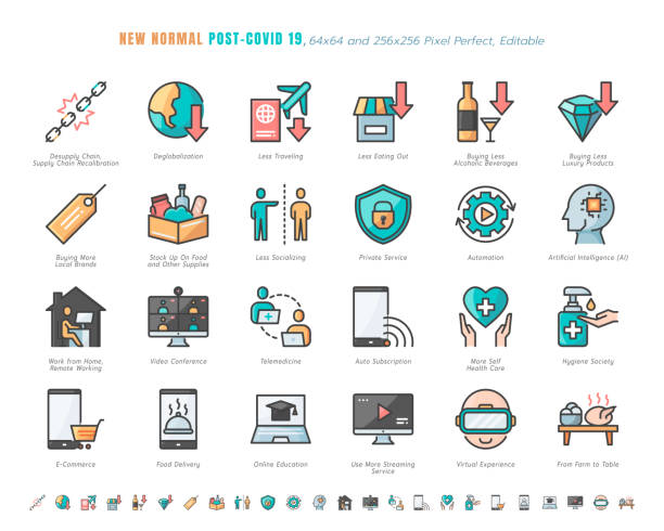 illustrazioni stock, clip art, cartoni animati e icone di tendenza di simple set of new normal after coronavirus 2019 or covid-19 ends related. such as streaming, online shopping, supply recalibration. filled outline icons vector. 64x64 pixel perfect. editable stroke. - new normal