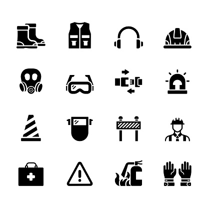 Simple Set of Occupational Safety Related Vector Icons. Symbol Collection