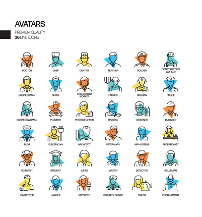 Simple Set of Occupations and Avatars Related Spotlight Vector Line Icons. Outline Symbol Collection.