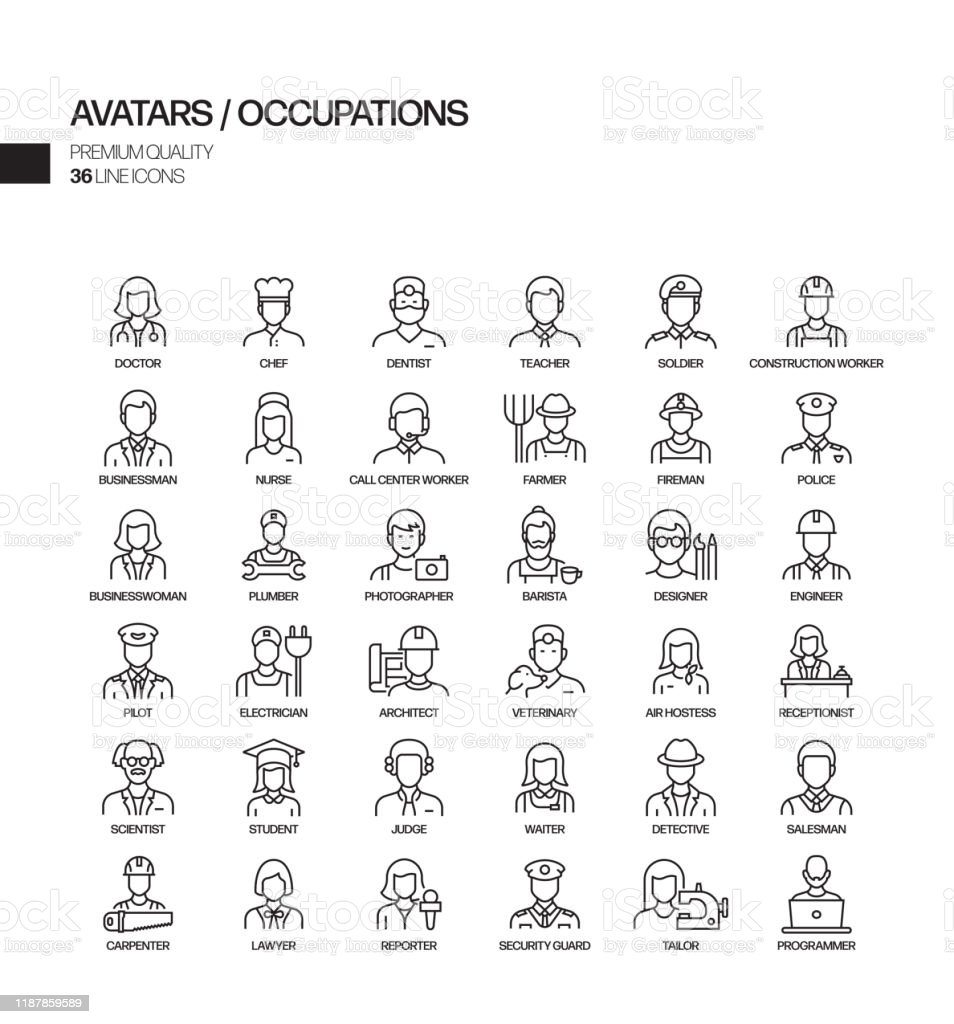 Simple Set of Occupations and Avatars Related Vector Line Icons. Outline Symbol Collection. - arte vettoriale royalty-free di Adulto