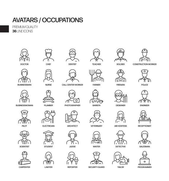ilustrações, clipart, desenhos animados e ícones de conjunto simples de ocupações e avatares relacionados ícones da linha vetorial. coleção de símbolos de esboço. - business man