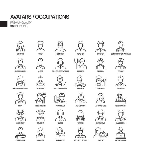 illustrazioni stock, clip art, cartoni animati e icone di tendenza di simple set of occupations and avatars related vector line icons. outline symbol collection. - polizia