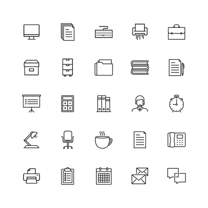 Simple Set of Office and Workplace Related Vector Line Icons