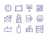 Simple Set of Office Related Doodle Vector Line Icons