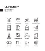 Simple Set of Oil Industry Related Vector Line Icons. Outline Symbol Collection.